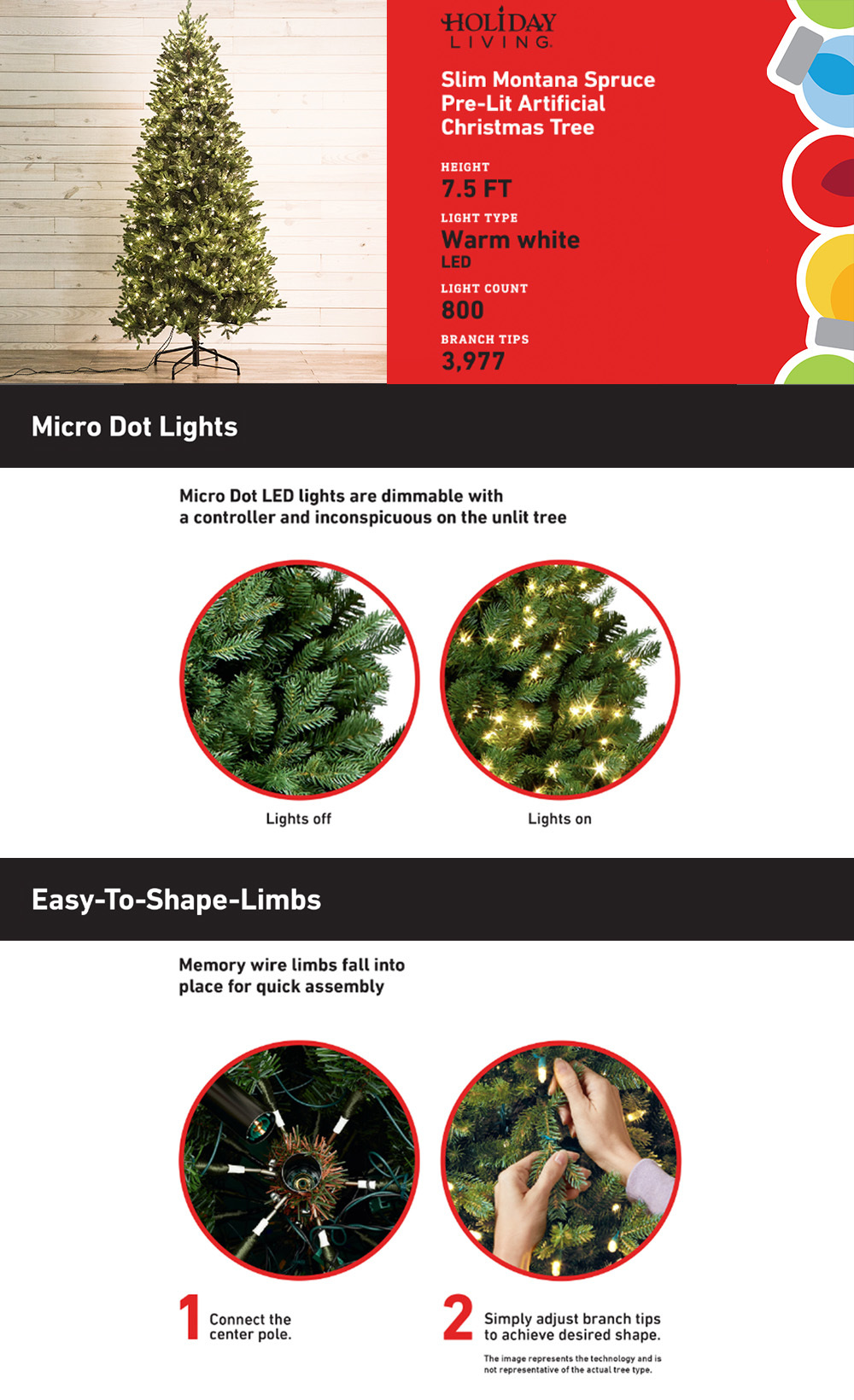 Shop Holiday Living 7.5-ft Pre-lit MontaSpruce Slim Artificial ...