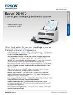 View Epson DS-970 Color Duplex Workgroup Document Scanner Product Specifications PDF