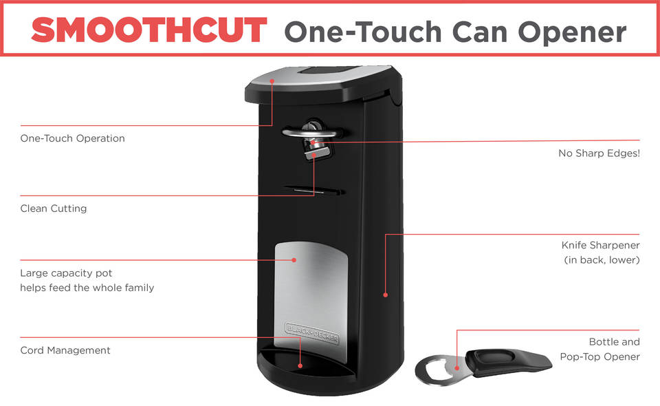 BLACK+DECKER SmoothCut One-Touch Can Opener, EC600B - Walmart.com