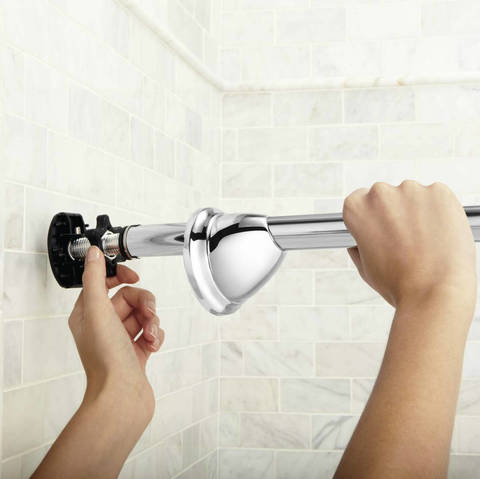 Installing The Curved Shower Rod Is Fast And Easy. Thereu0027s No Need To  Measure And Cut The Rod; Simply Extend And Retract It To Fit Your ...