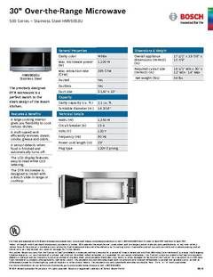 View Spec Sheet -- Over-the-Range Microwave -- HMV5053U PDF