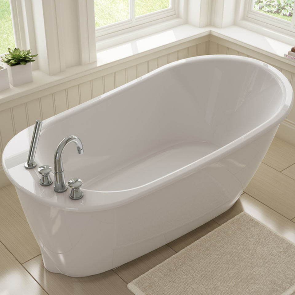 Shop MAAX Sax 60-in White Gelcoat/Fiberglass Oval Reversible Drain ...