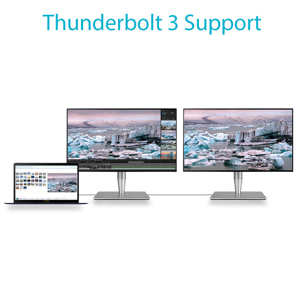 Image result for The port that does it all  For unrivaled expandability and versatile, ultrafast connections, ProArt PA27AC includes two USB-C ports that support Thunderbolt™ 3 for data transfer speeds of up to 40Gb/s, DisplayPort and USB 3.1 with Power Delivery for providing up to 45W of power to external devices. In addition, you can daisy-chain several displays through a single port without the need for a hub or a switch. With Thunderbolt™ 3, the possibilities are truly endless!