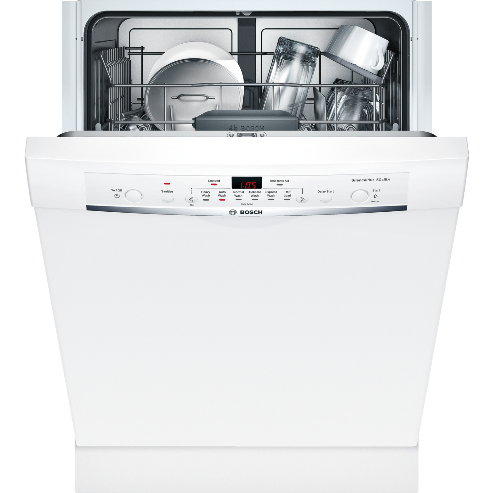 Bosch 24 Dishwasher With 50 Dba Quiet Level 6 Wash Cycles Front Controls White