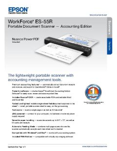 View Epson WorkForce ES-55R Portable Document Scanner — Accounting Edition Product Specifications PDF