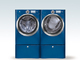 Washer and Perfect Steam™ Dryer with Wave-Touch® Controls in Mediterranean Blue with Optional Pedestal Drawers