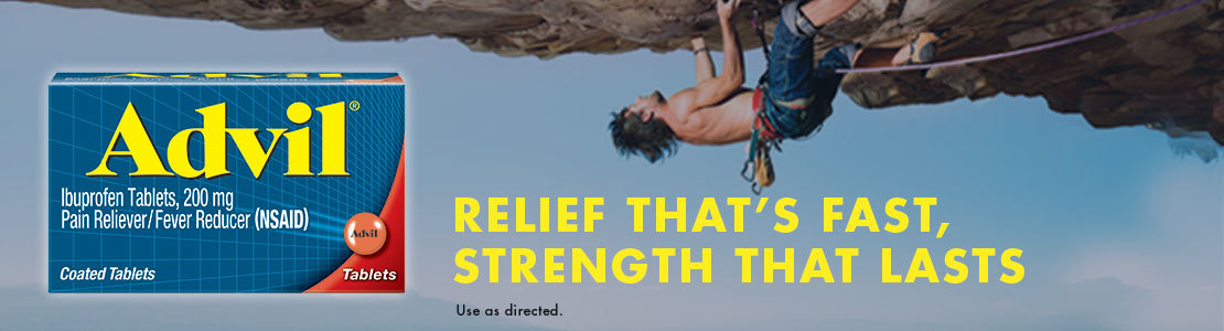 Relief that's fast, strength that lasts. Advil, #1 selling OTC pain reliever.