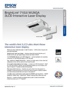 View Epson BrightLink 710Ui WUXGA 3LCD Interactive Laser Display Product Specifications PDF