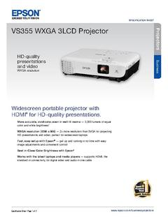 View Epson VS355 WXGA 3LCD Projector Product Specifications PDF