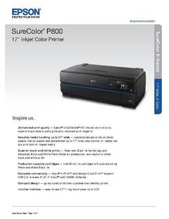 "View SureColor P800 17"" Photographic Inkjet Printer PDF"