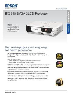 View EX3240 SVGA 3LCD Projector Product Specifications PDF