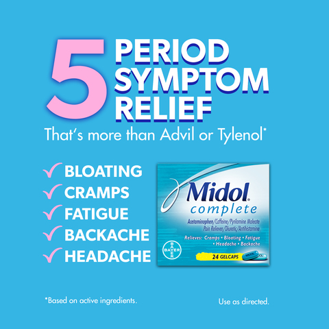 Midol Complete, Menstrual Period Symptoms Relief, Gelcaps, 24 CT