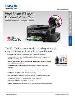 View WorkForce ET-4550 EcoTank All-in-One Product Specifications PDF