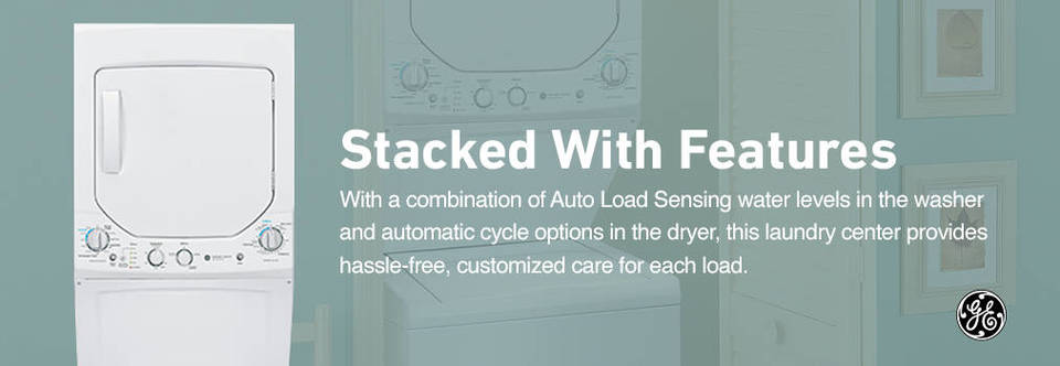 ge electric stacked laundry center