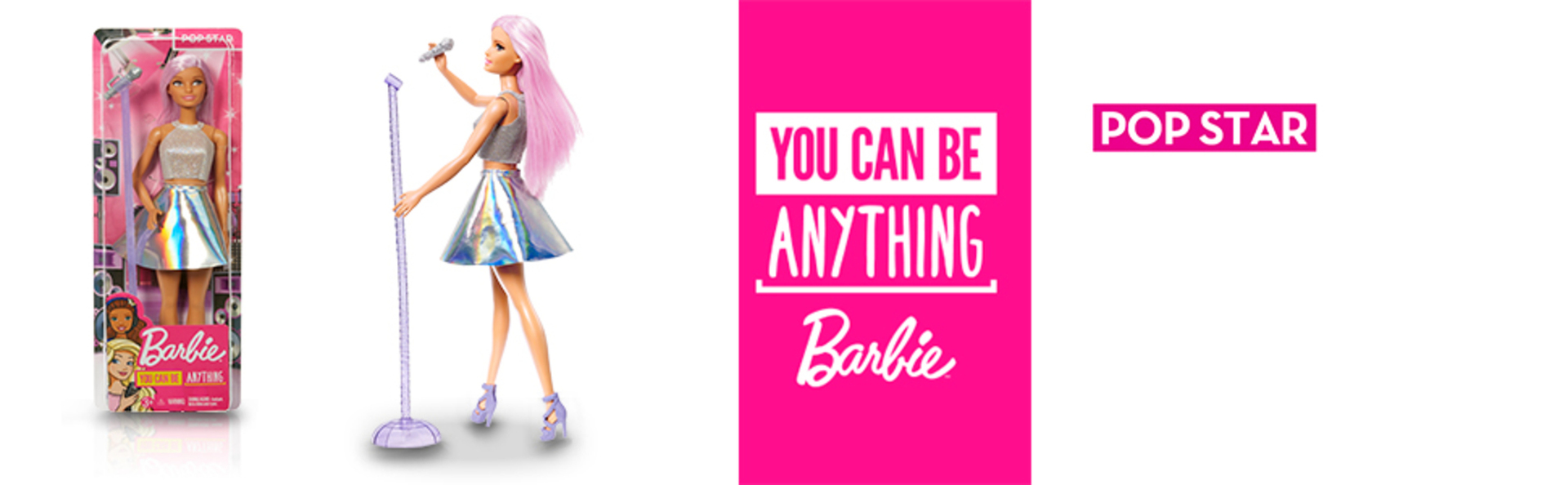 Barbie Careers Pop Star Doll, Long Pink Hair with Iridescent Skirt