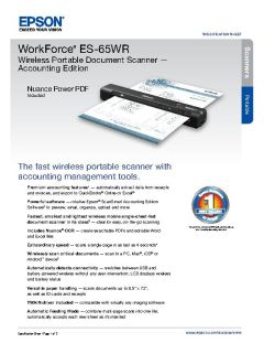 View Epson WorkForce ES-65WR Wireless Portable Document Scanner Product Specifications PDF