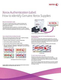 View How to identify genuine Xerox Supplies PDF
