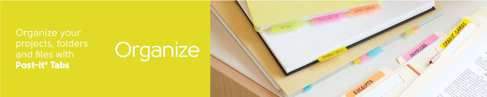 Organize your projects, folders and files with Post-it® Tabs