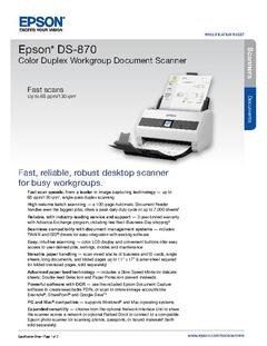 View Epson DS-870 Color Duplex Workgroup Document Scanner Product Specifications PDF