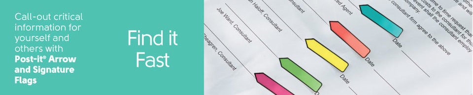 Call-out critical information for yourself and others with Post-it® Arrow and Signature Flags