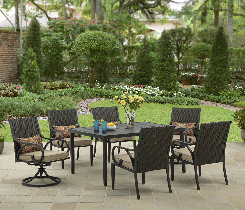 BHG LAYTON RIDGE 7PCS STEEL RATTAN DINING SET