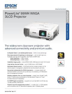 View PowerLite 99WH Product Specifications PDF