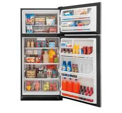 Frigidaire Top-Mount Refrigerator: FFTR1821TS, Door open, Loaded