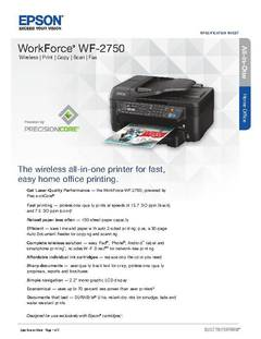 View Epson WorkForce WF-2750 All-in-One Product Specifications PDF