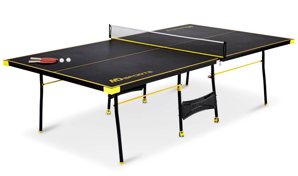MD Sports Official Size Table Tennis Table, Black/Yellow