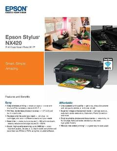 View EPSON Stylus NX420 All-in-One Specifications PDF