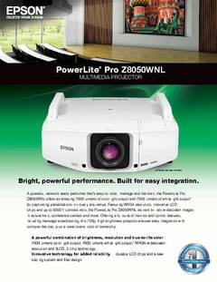 PowerLite Pro Z8050WNL Specifications Sheet - opens PDF