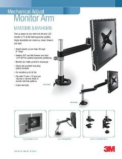 View Mechanical Adjust Monitor Arm Information Sheet PDF