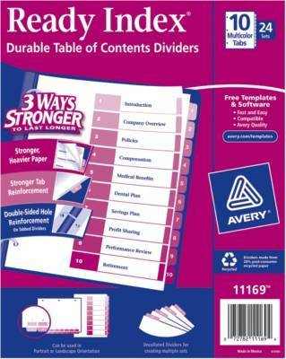 Avery Ready Index Table Of Contents Divider Multi Color 10 Tab Set