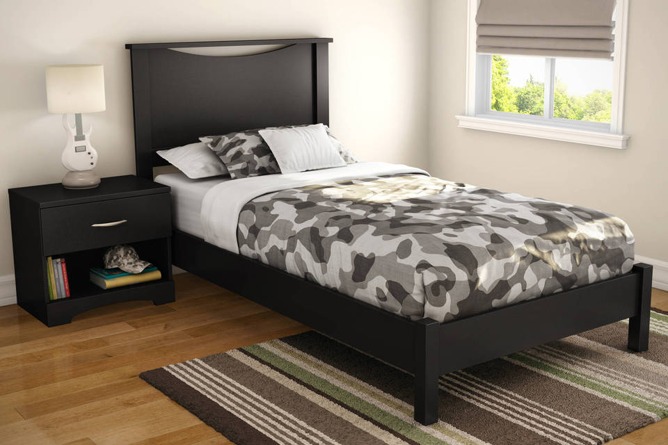 south shore soho twin platform bed pure black