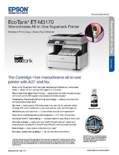 View Epson EcoTank ET-M3170 Monochrome All-in-One Supertank Printer Product Specifications PDF