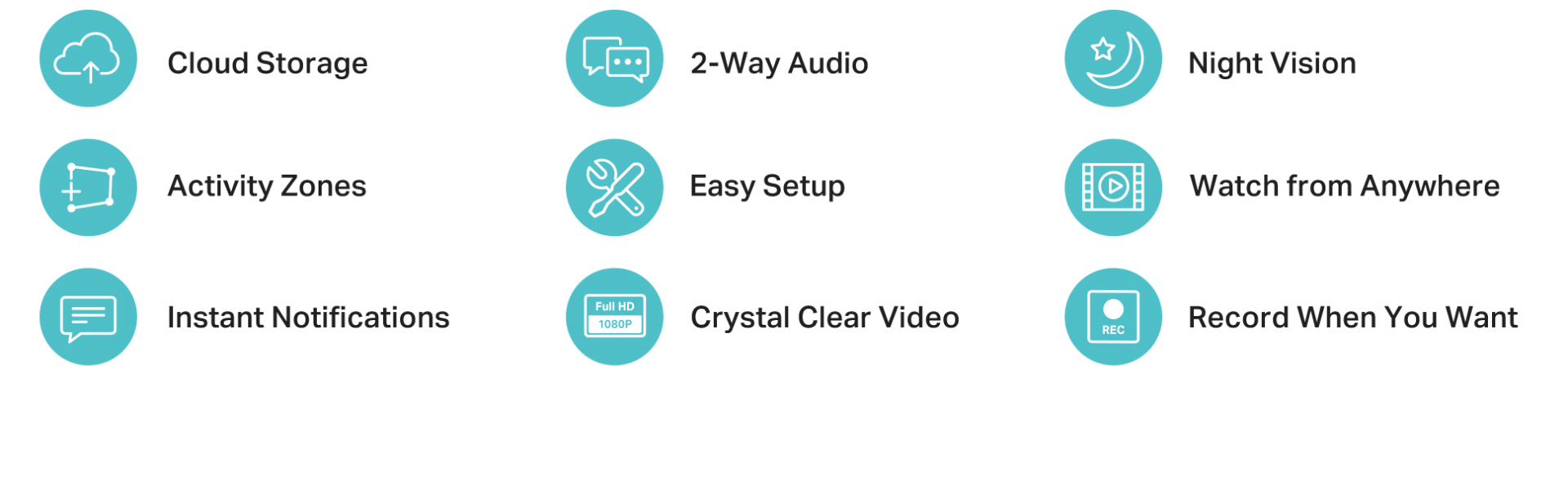 Cloud storage, 2-way audio, night vision, activity zones, easy setup