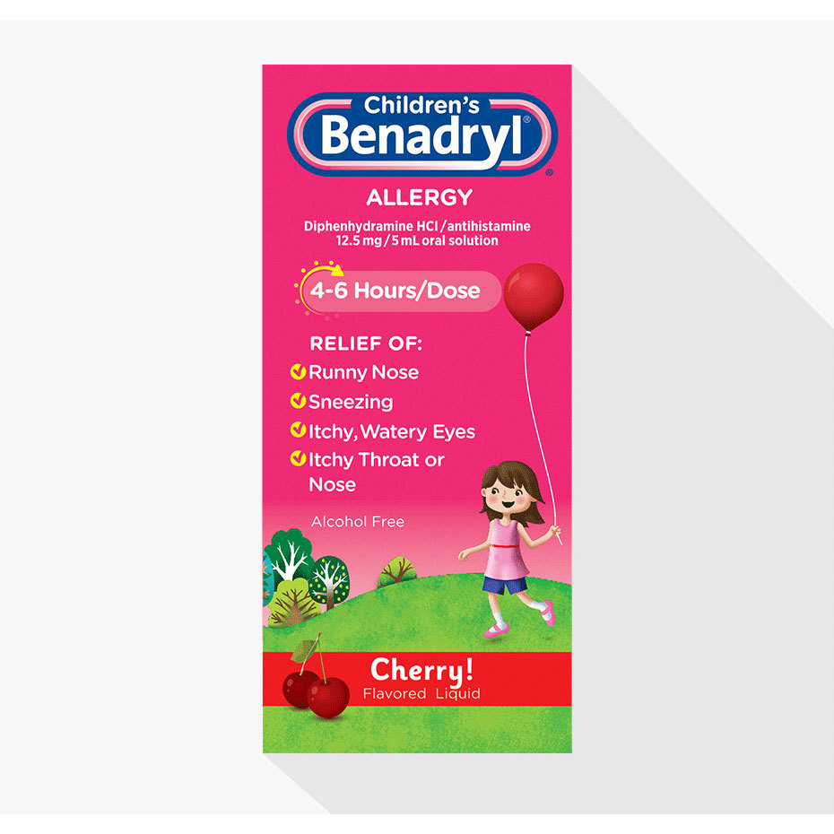 Children's Benadryl Antihistamine Allergy Liquid, Cherry, 4 fl  oz