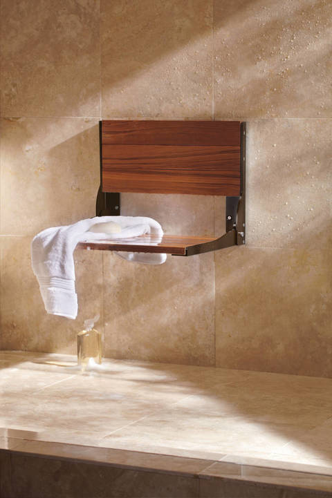 Shop Moen Home Care Old World Bronze Teak Wall Mount Shower Seat at ...