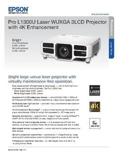View Epson Pro L1300U Laser WUXGA 3LCD Projector with 4K Enhancement Product Specifications PDF