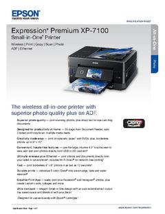 View Epson Expression Premium XP-7100 Small-in-One Printer Product Specifications PDF