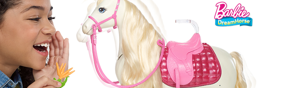 half price super specials cheap sale Barbie DreamHorse & Blonde Doll, Interactive Toy with 30+ ...