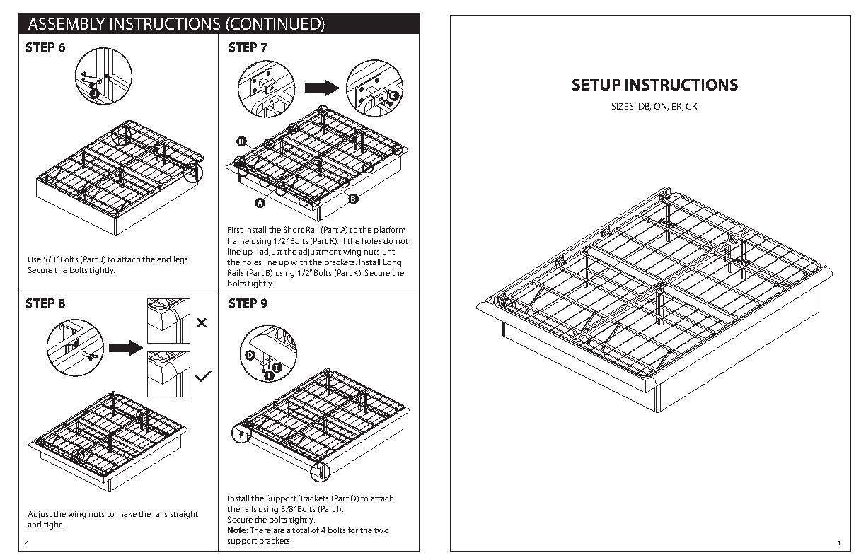 austin metal platform bed frame instructions king