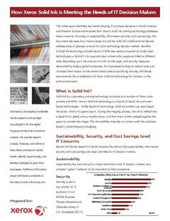 "InfoTrends Executive Whitepaper ""How Xerox Solid Ink Is Meeting the Needs of IT Decision Makers"" - opens PDF"