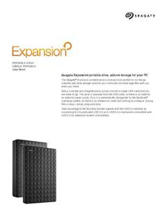 View Fiche technique du disque portable Expansion USB 3.0 PDF