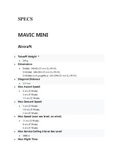 Mavic Mini Specifications