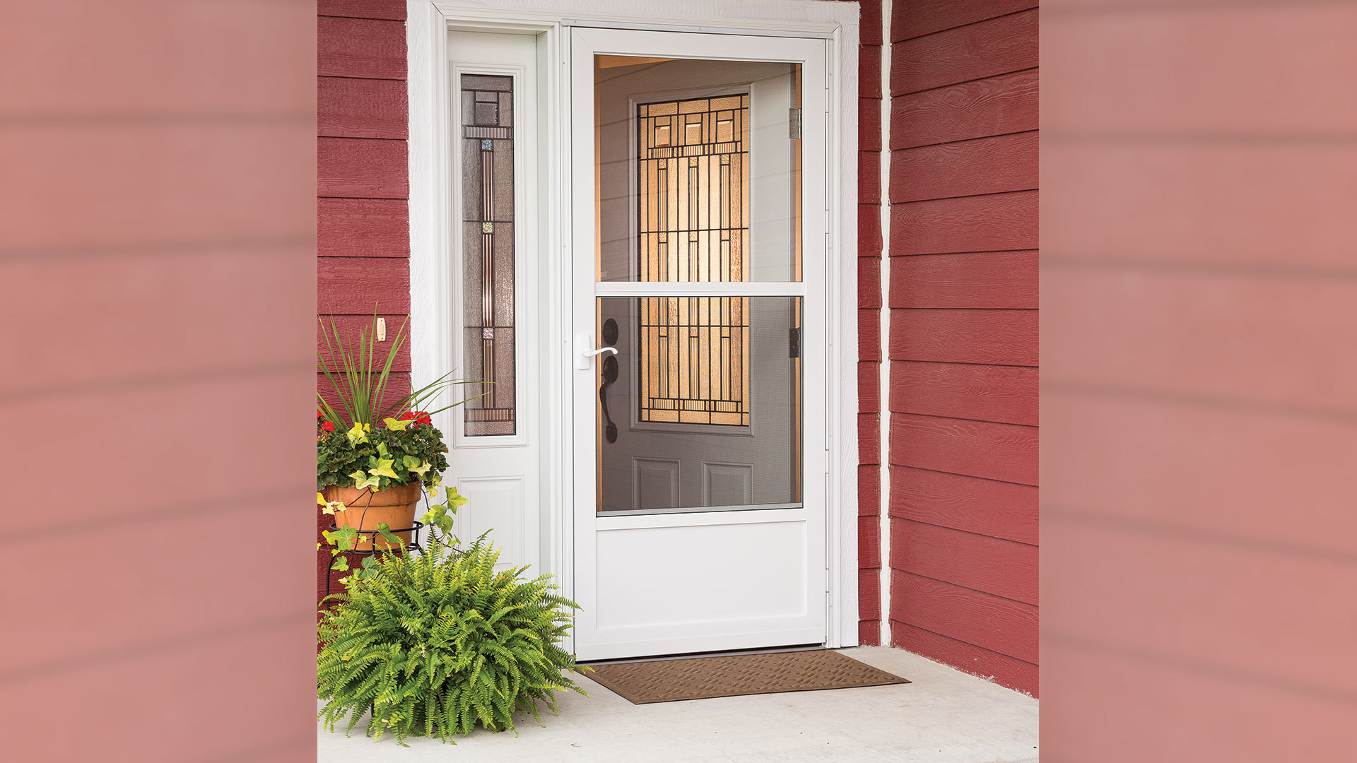 Shop Larson Southport White Mid View Aluminum Storm Door Common 32