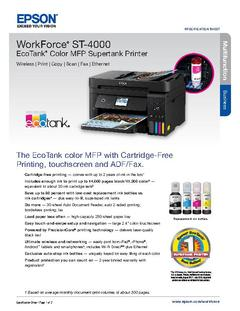 View Epson WorkForce ST-4000 EcoTank Color MFP Supertank Printer Product Specifications PDF