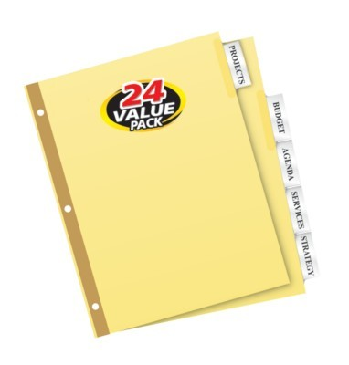avery big tab insertable dividers gold reinforced 30percent recycled