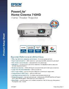 PowerLite Home Cinema 710HD Product Setup Sheet - opens PDF