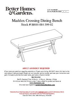 Maddox Crossing Dining Bench Assembly Manual